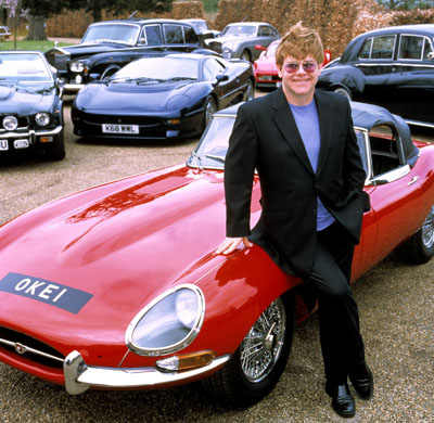 Elton John and several of his cars