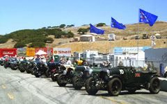 Vintage Bentleys lined up at the Monterey Historic Automobile Races 2001