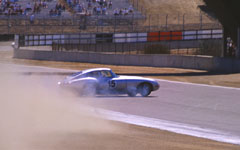 Jaguar E-Type spinning at the Monterey Historic Automobile Races 2001