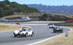 1957 Sadler MkII and 1954 Jaguar D-Type at the Montarey Historic Automobile Races 2001