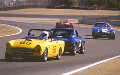 1965 Sunbeam Tiger, 1963 Corvette and 1964 Cobra at the Monterey Historic Automobile Races 2001